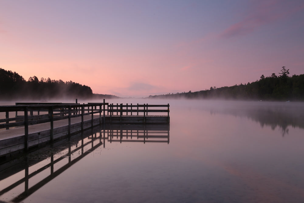 Mist Rolling Over Lake and Docks Itasca State Park