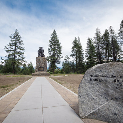 View of Donner Memorial State Park monument in remembrance of the Donner Party