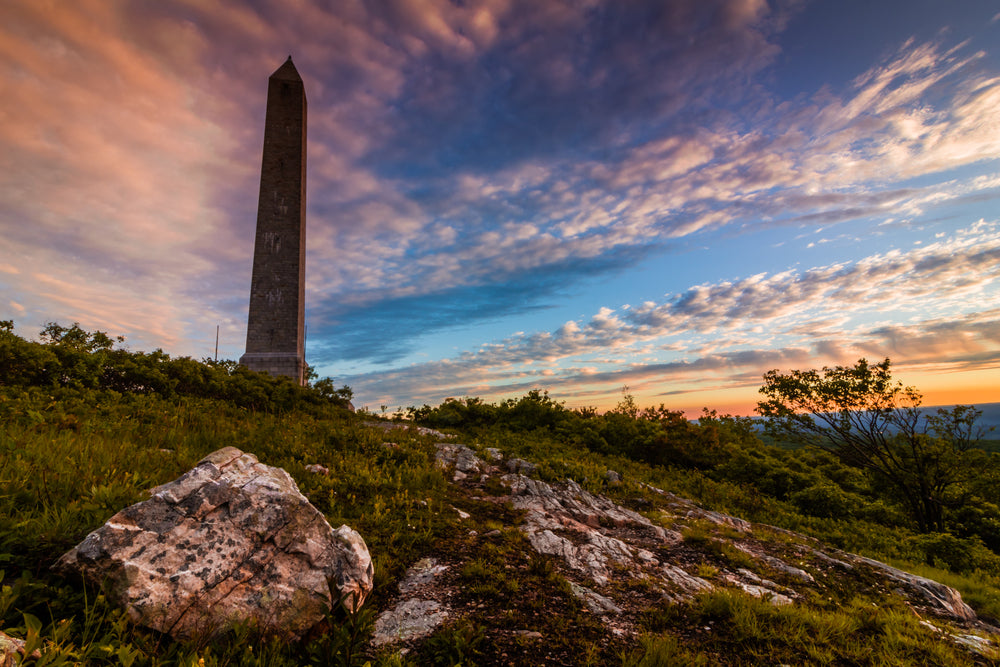 Monument Set Along Granite Rocks in High Point State Park New Jersey