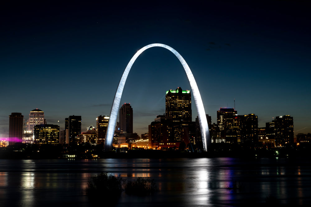 Night Time View of St Louis Arch Along Mississippi River at gateway Arch National Park Missouri