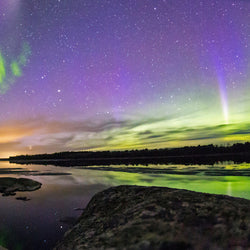 Northern Lights over skies of Voyageurs National Park in Minnesota