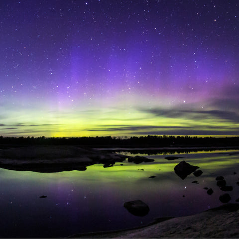 Northern lights shining over Ash River in Voyageurs National Park in Minnesota