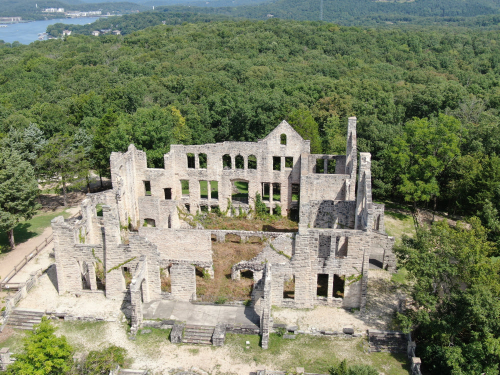 Old Ruins With Forest Surrounding Area Ha Ha Tonka State Park