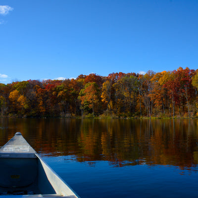 on the lake in the canoe