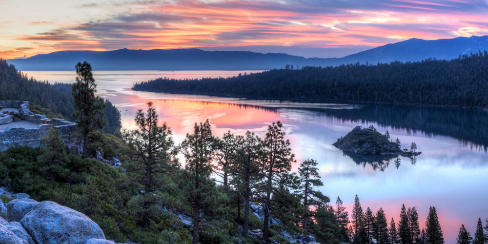 Panoramic View of Colorful Sunrise Over Emerald Bay