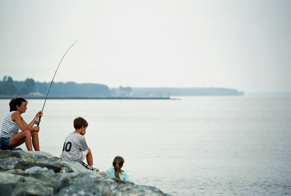 People Fishing at Point Lookout State Park Maryland