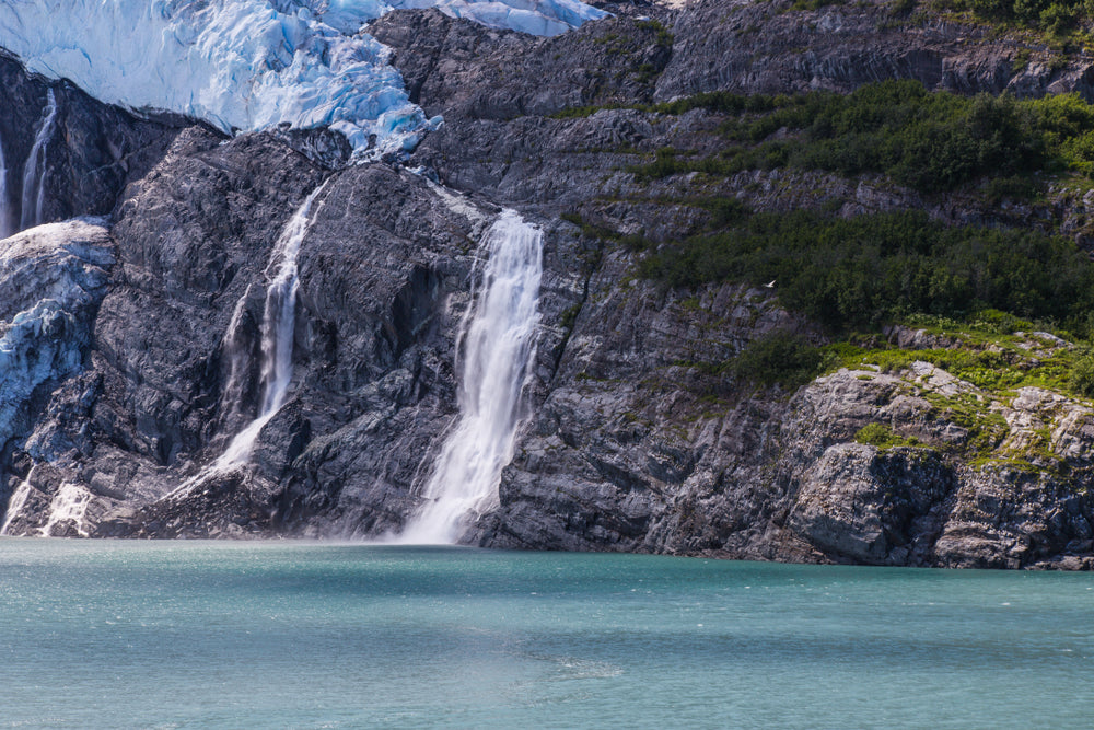 Prince William Sound with rock wall backdrop in Chugach State Park Alaska
