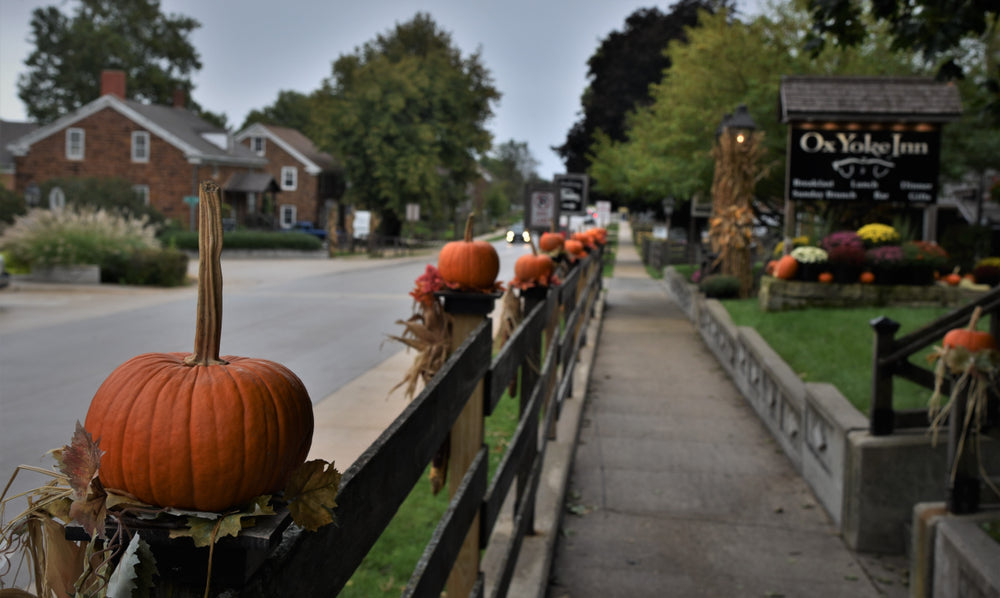 Pumpkins Decorated Streets and Wooden Fences of Amana Colonies Near Amana RV Park Iowa