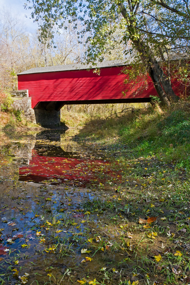 Red Covered Bridge Over Ramp Creek in Brown County State Park Indiana