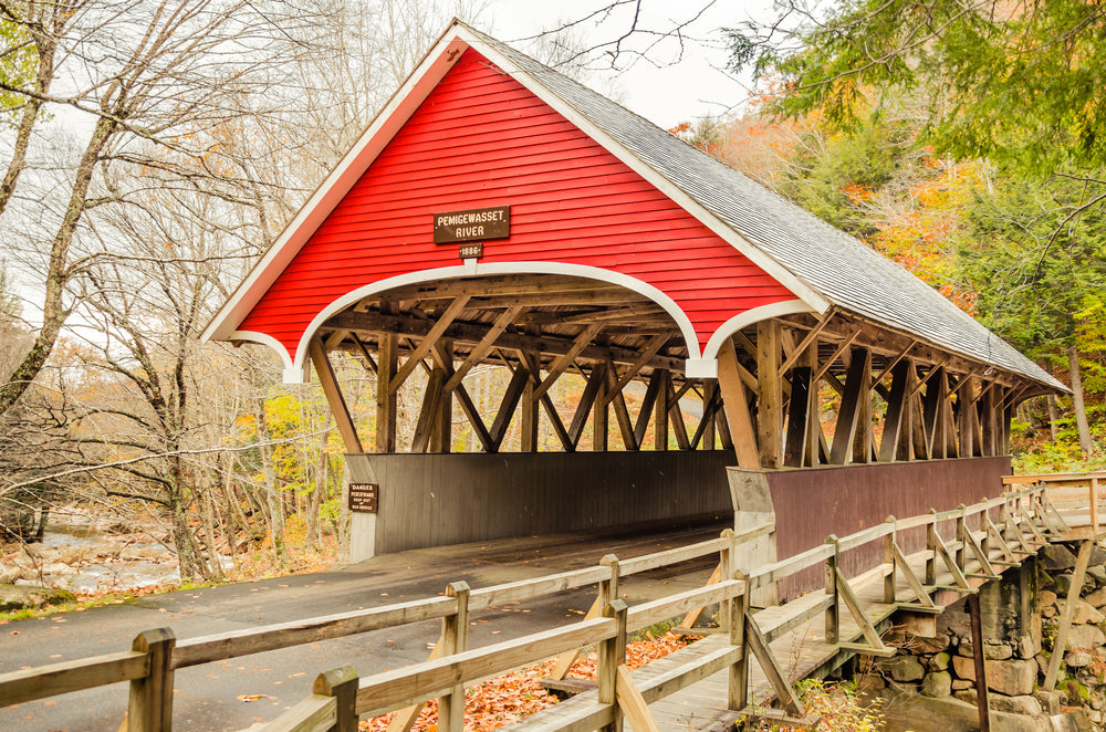 Red Wooden Covered Bridge in Autumn in New Hampshire