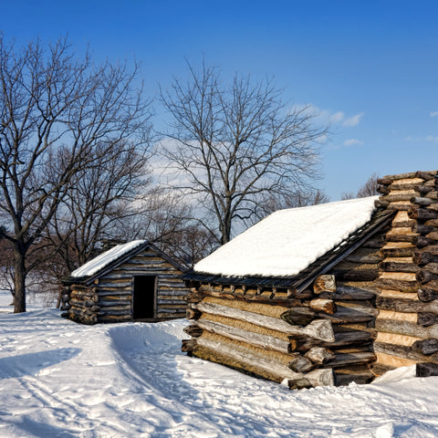 Revolutionary war American military camp housing in Valley Forge National Historical park during winter