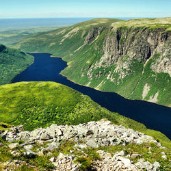 River, mountain and cliff views of Gros Morne National Park in Newfoundland