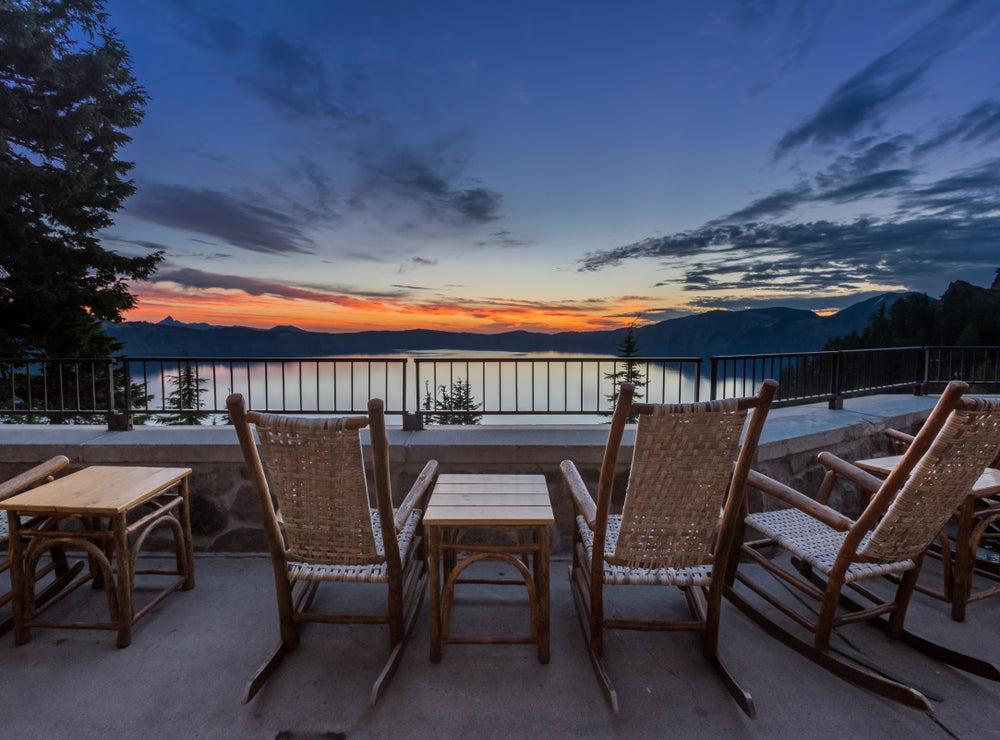 Rocking Chairs and Tables Overlooking Crater Lake in Crater Lake National Park
