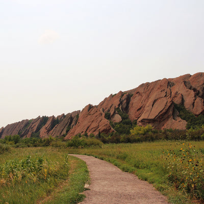 Red sandstone formations along Fountain Valley Trail in the mountains at Roxborough State Park, Colorado USA