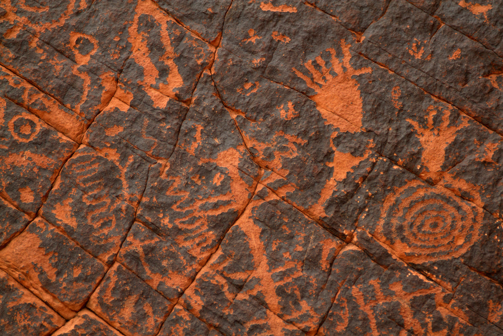 Sandstone Rock With Ancient Native American Petroglyphs in Valley of Fire State Park Nevada