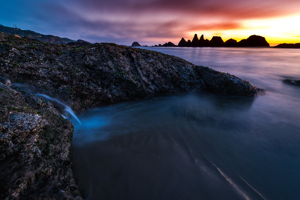 Seal Rock at Sunset With Waterfall Newport Oregon