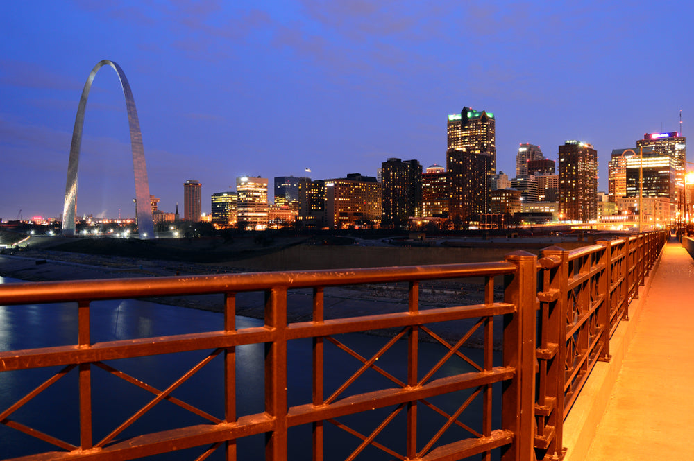 Skyline View Along Eads Bridge on Banks on Mississippi River at Gateway Arch National Park Missouri