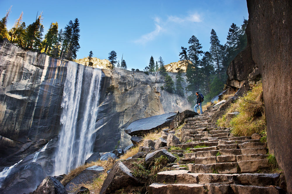 Stone Steps and Waterfall in Yosemite National Park