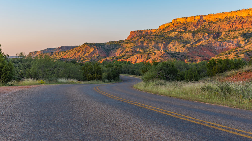 Sunny Mountain View of Palo Duro Canyon Road
