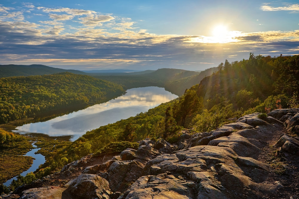 Sunset Over Lake of The Clouds Porcupine Mountains Wilderness State Park Michigan