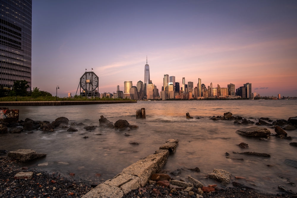 Sunset View of New York City From Liberty State Park New Jersey