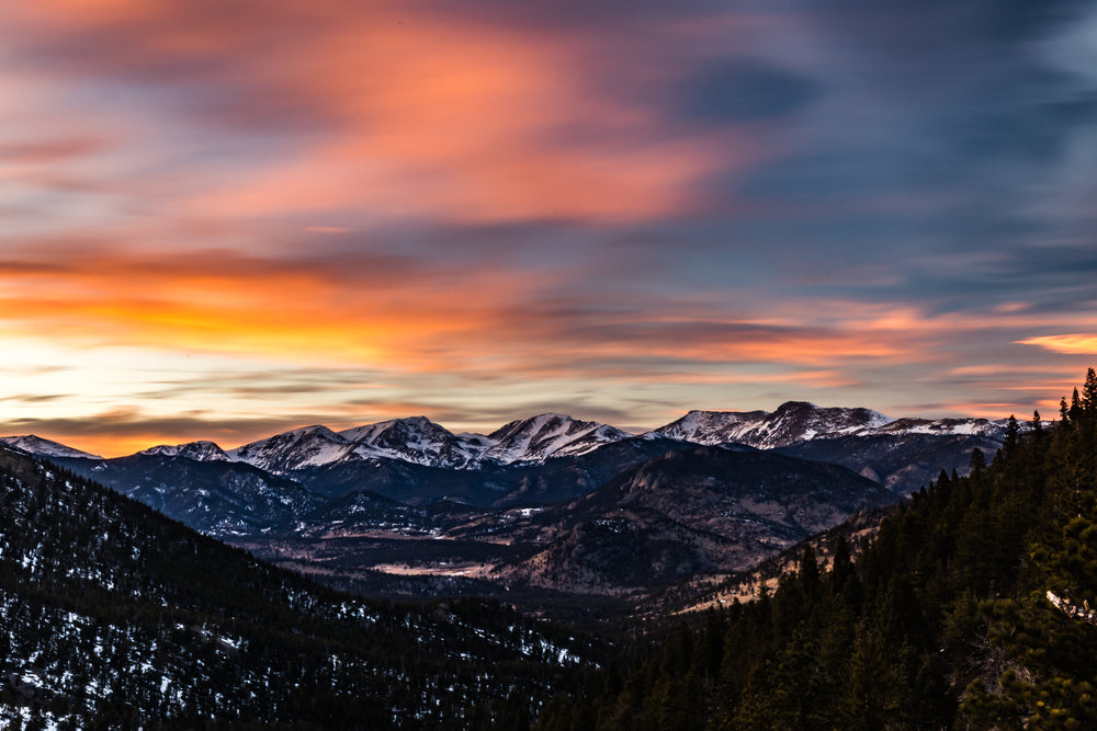 Sunset View of Rocky Mountains Near Estes Park Colorado