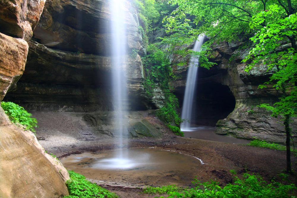 Twin Waterfalls Splashing Down Into Tonti Canyon at Starved Rock State Park