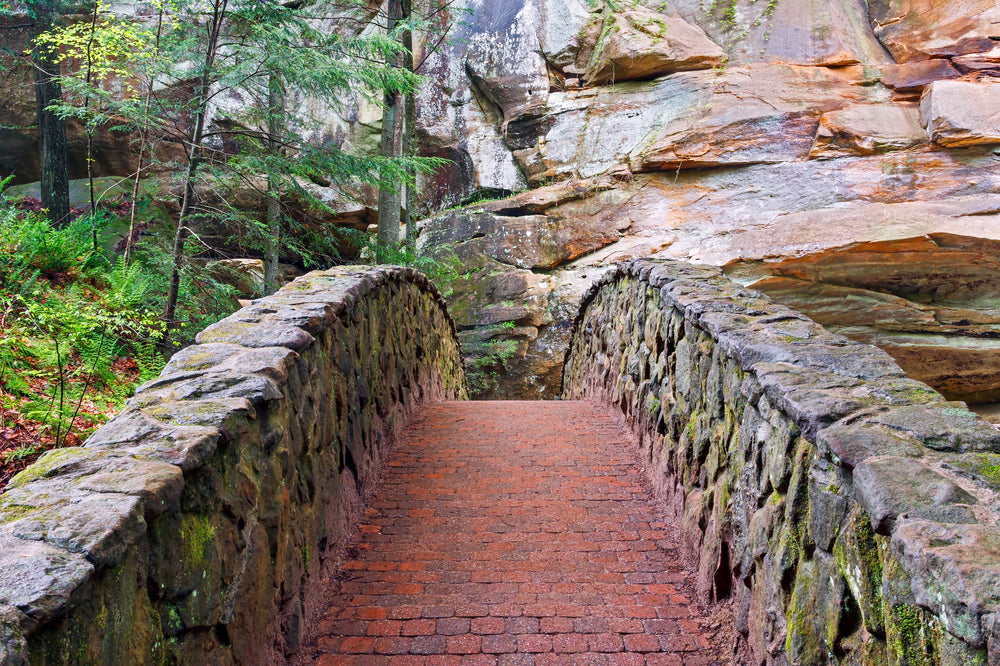 View Down a Stone Foot Bridge at Old Mans Cave in Hocking Hills State Park Ohio