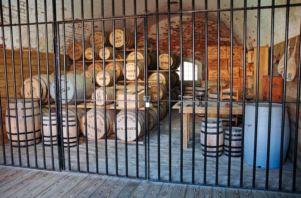View of Ammo Barrels and Canon in Fort Macon State Park North Carolina