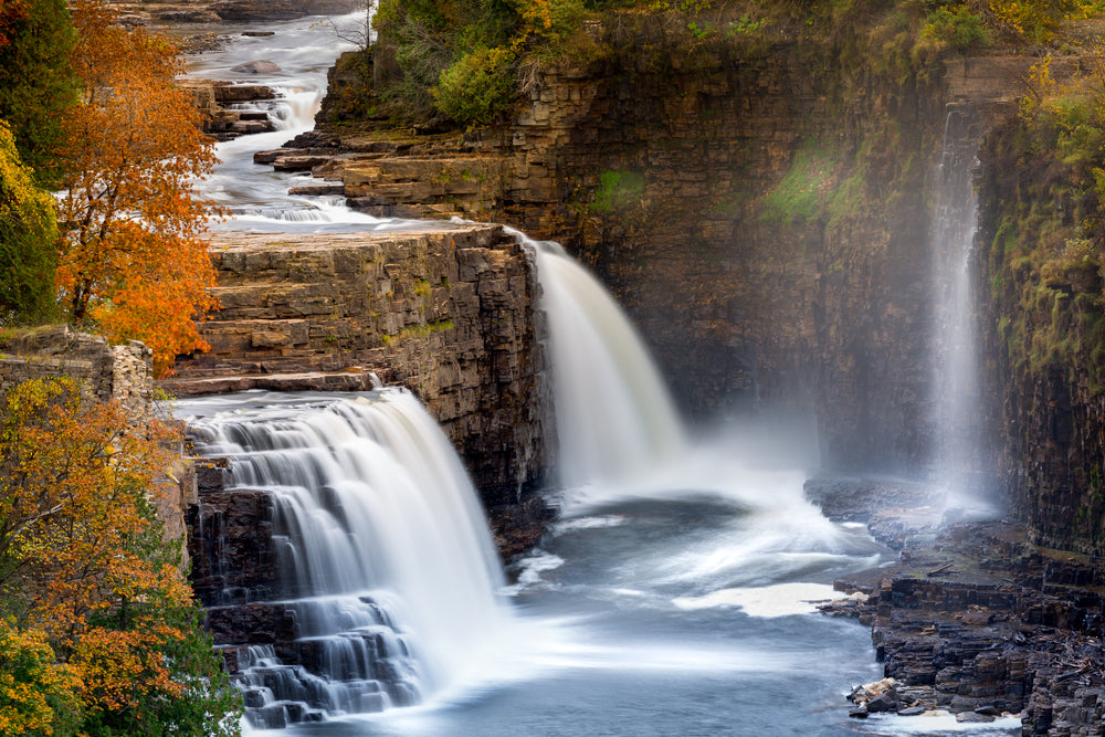 View of Ausable Chasm Waterfall in Adirondack New York