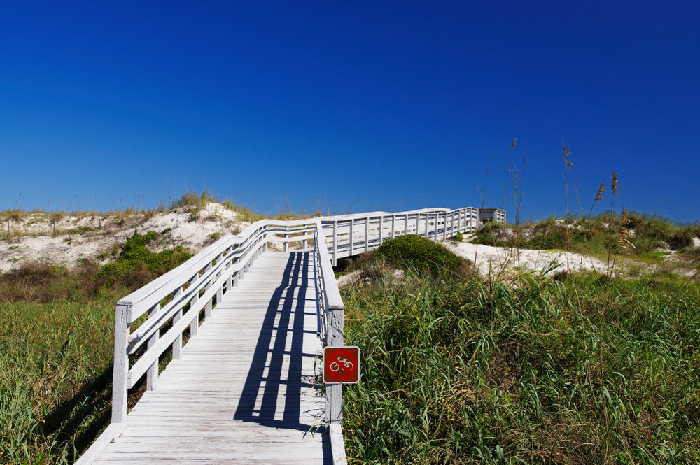 View of Boardwalk and Sand Dunes in Anastasia State Park Florida