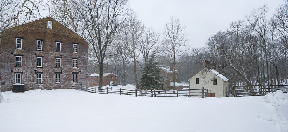 View of Colonial Buildings in Winter in Allaire State Park New Jersey