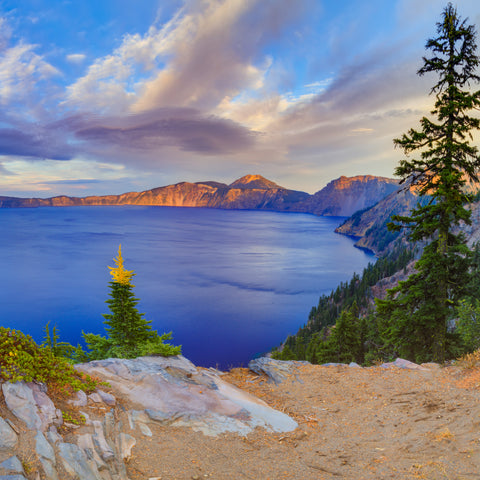 View of Crater Lake National Park during Autumn in Oregon USA