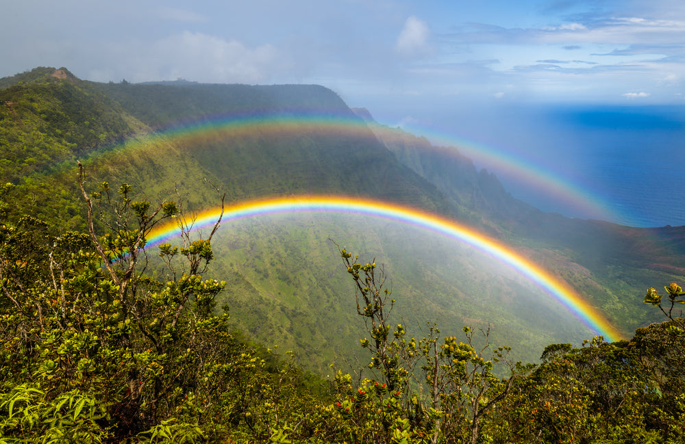 View of Double Rainbow Over Kalalau Valley in  Na Pali Coast State  Park