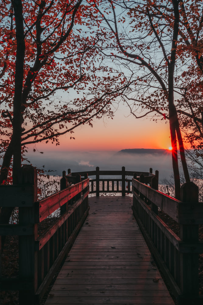 View of Foggy Sunrise on Boardwalk Over Mississippi River in Pikes Peak State Park Iowa