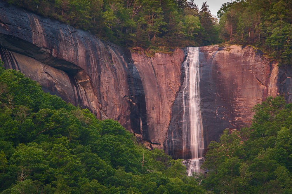 View of Hickory Nut Falls in Chimney Rock State Park North Carolina