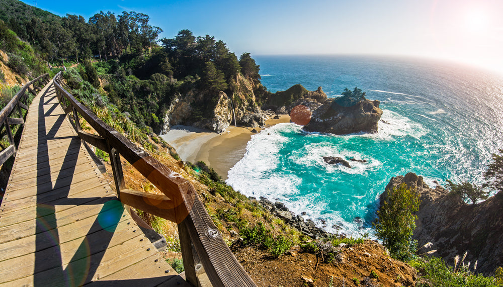 View of Hiking Deck and Mcway Fall Big Sur California