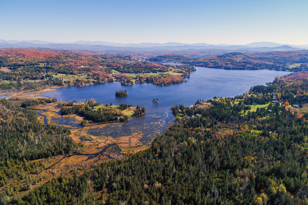View of Jobs Pond in Fall Danville Vermont