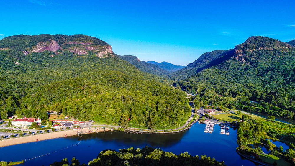 View of Lake Lure on Gorgeous Sunny Day Chimney Rock State Park North Carolina