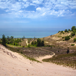 View of Lake Michigan from dunes at Indiana National Park