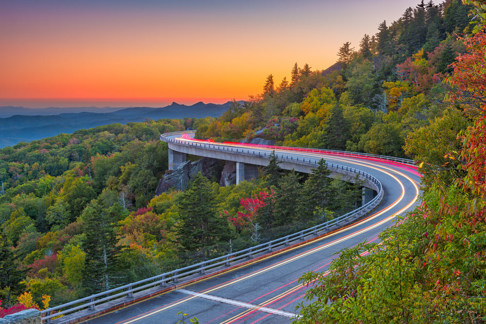 View of Linn Cove Viaduct at Dusk at Grandfather Mountain State Park North Carolina