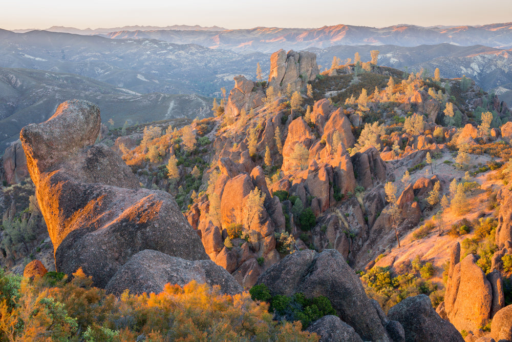 View of Mountains During Sunset in Pinnacles National Park