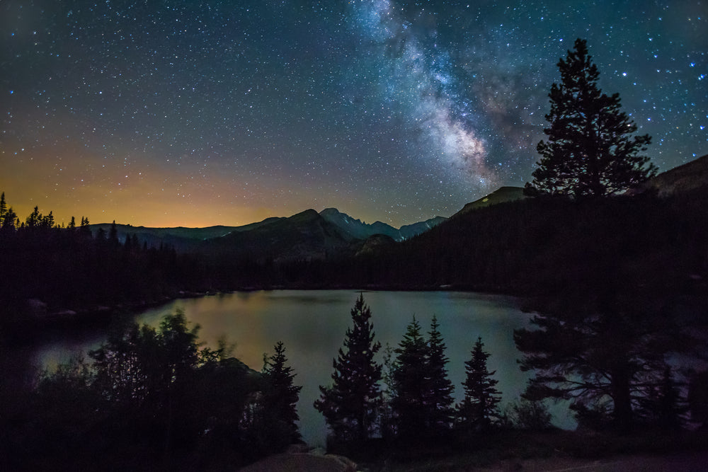 View of Night Time Sky Showing Milky Way Above Longs Peak in Rocky Mountain-national-park-colorado