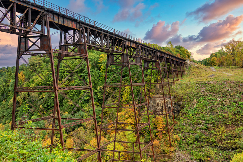View of old railroad trestle spanning through Letchworth State Park in New York