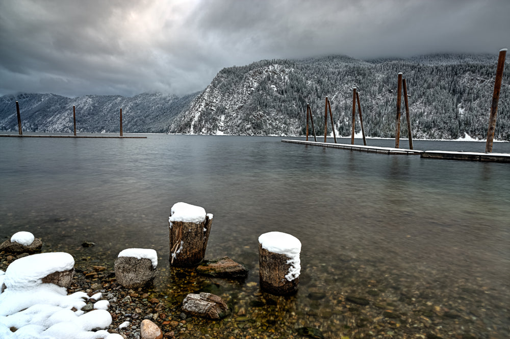 View of Pend Oreille Lake in Winter in Farragut State Park Idaho