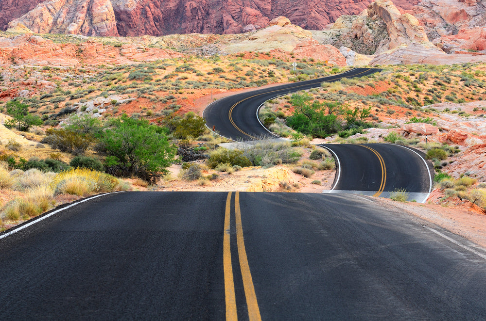 View of Roadway Running Through Valley of Fire State Park Nevada