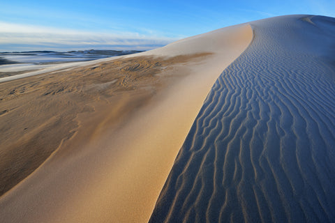 View of sand dunes during winter in Silver Lake State Park Michigan