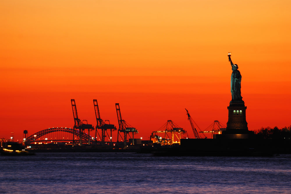 View of Statue of Liberty During Sunset Liberty State Park New Jersey