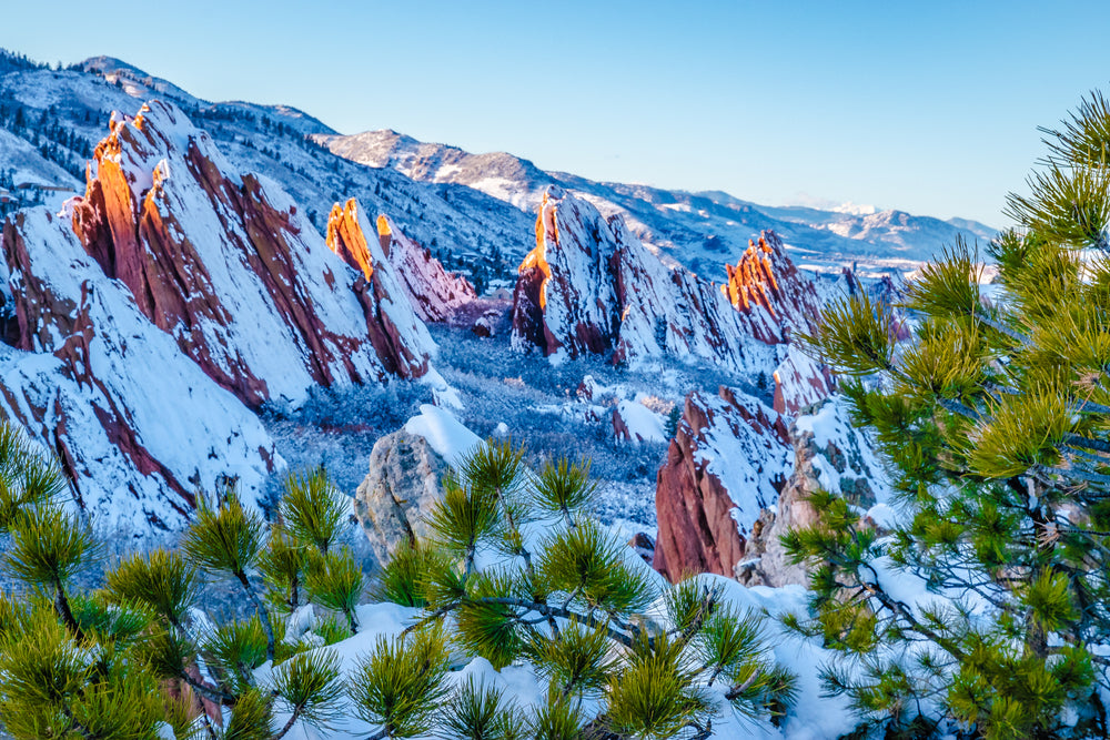 View of Sunny Day of Snow Capped Red Rocks at Roxborough State Park Colorado