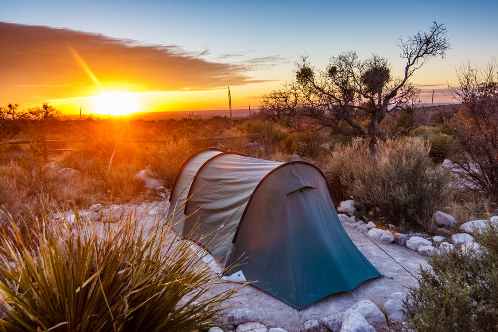 View of Sunrise Camping in Guadalupe Mountains National Park Texas